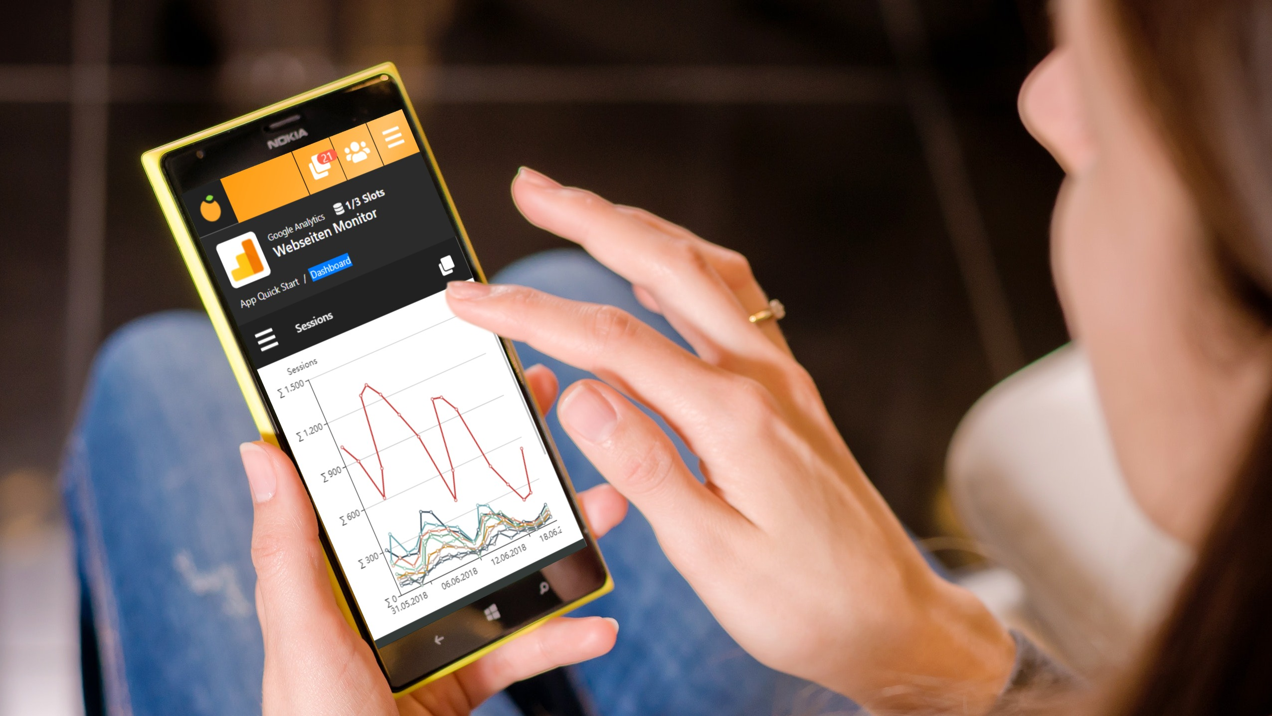 Reporting BI tool for mobile devices - women on smartphone tapping mobile dashboard
